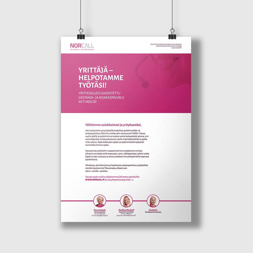 Palvelujen markkinointiin suunniteltu flyer (2016).