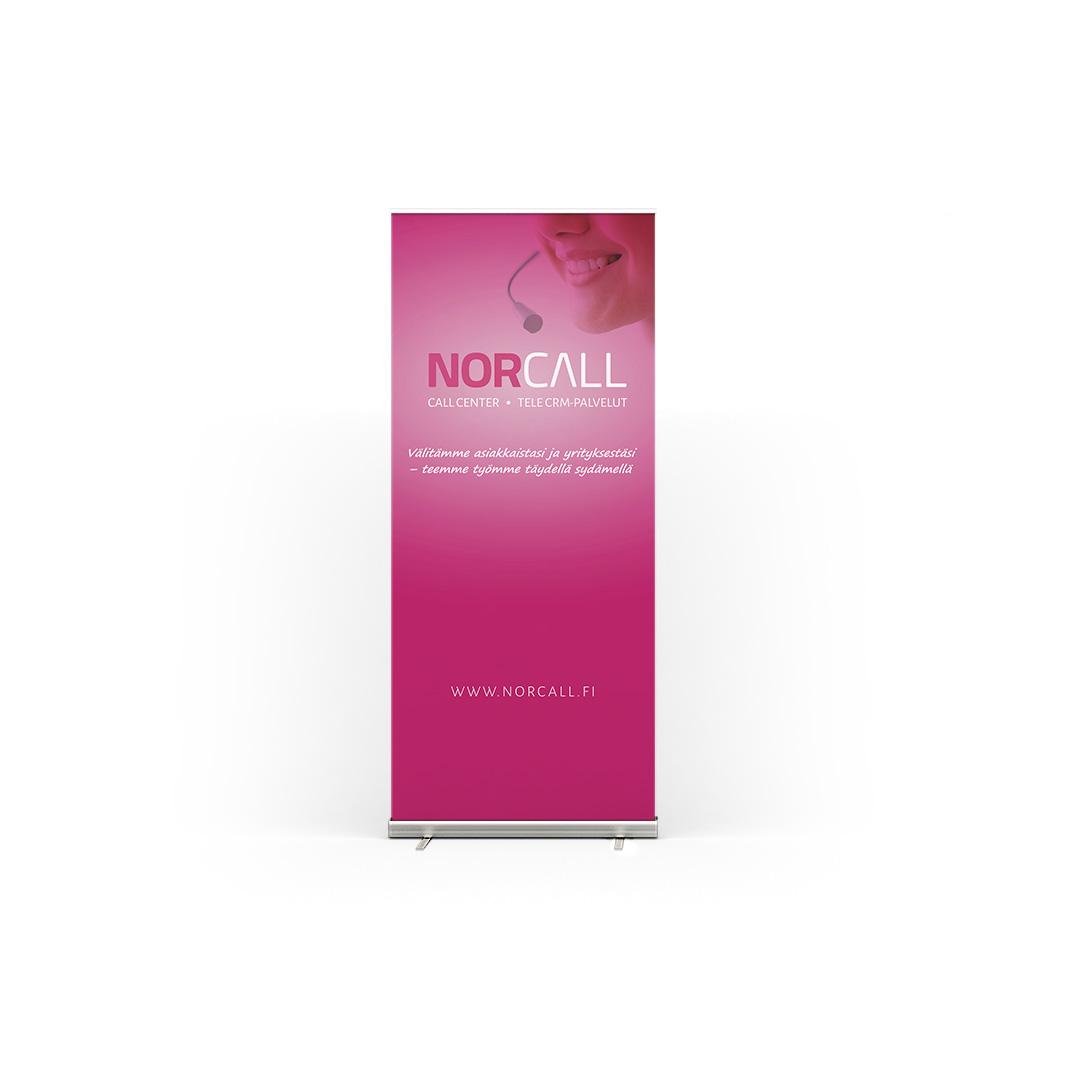 Rollupin suunnittelu Norcallin ilmeen tyylisesti.