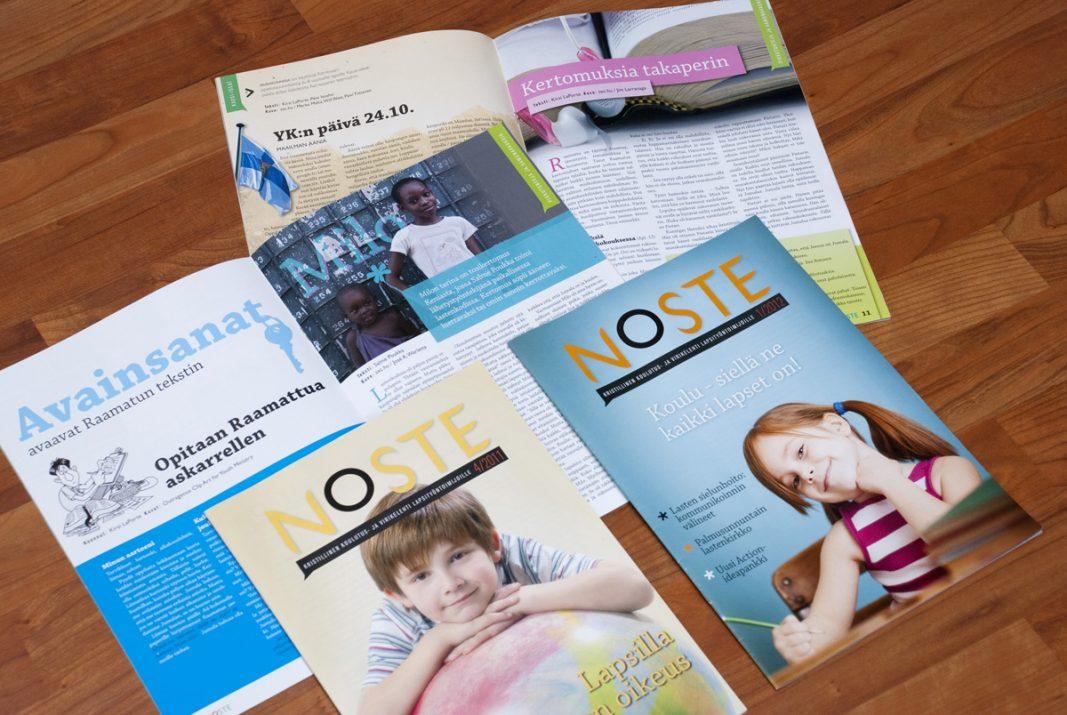 Noste-lehden ilmettä mukaileva sisällön taitto.