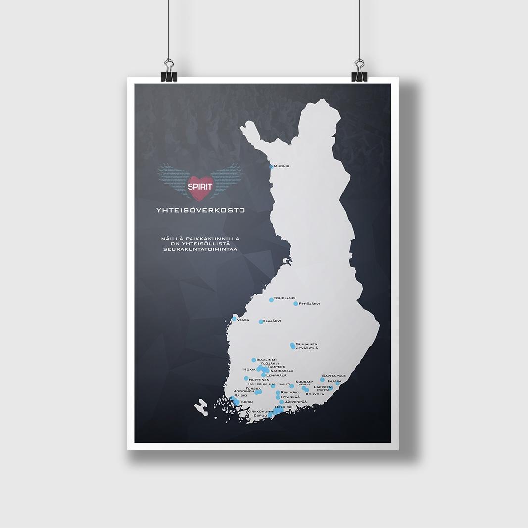 Spirit-työn yhteisöverkoston kartan suunnittelu. (Spirit-logon suunnittelu: Vladimir Halinen)