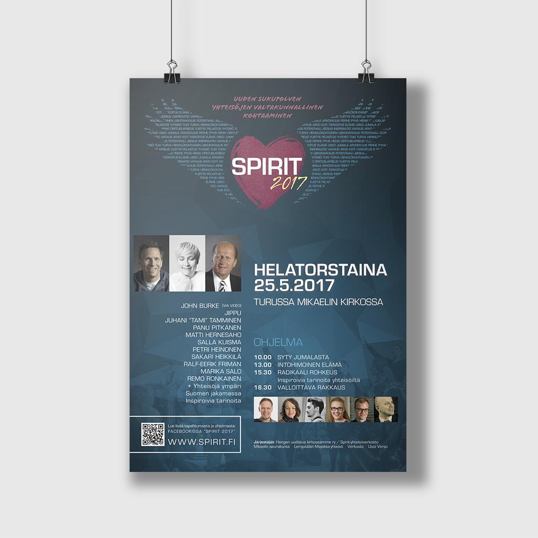 Spirit 2017 -julisteen graafinen suunnittelu. (Spirit-logon suunnittelu: Vladimir Halinen)