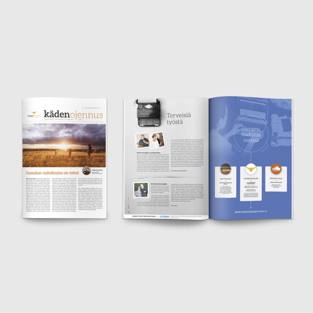 Kädenojennus-lehti, ilmestyy 4-6 kertaa vuodessa, 8-32 sivua. Graafinen suunnittelu & taitto.