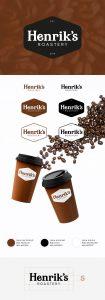 Henrik's Roastery -nimiselle kahvibrändille tehty logosuunnittelu.