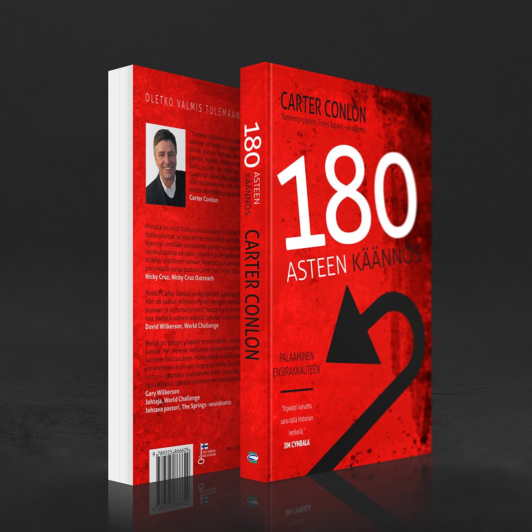 Kansisuunnittelu Carter Conlonin kirjaan 180 asteen käännös (KKJMK 2012). http://www.kkjmk.net/product_details.php?p=1764