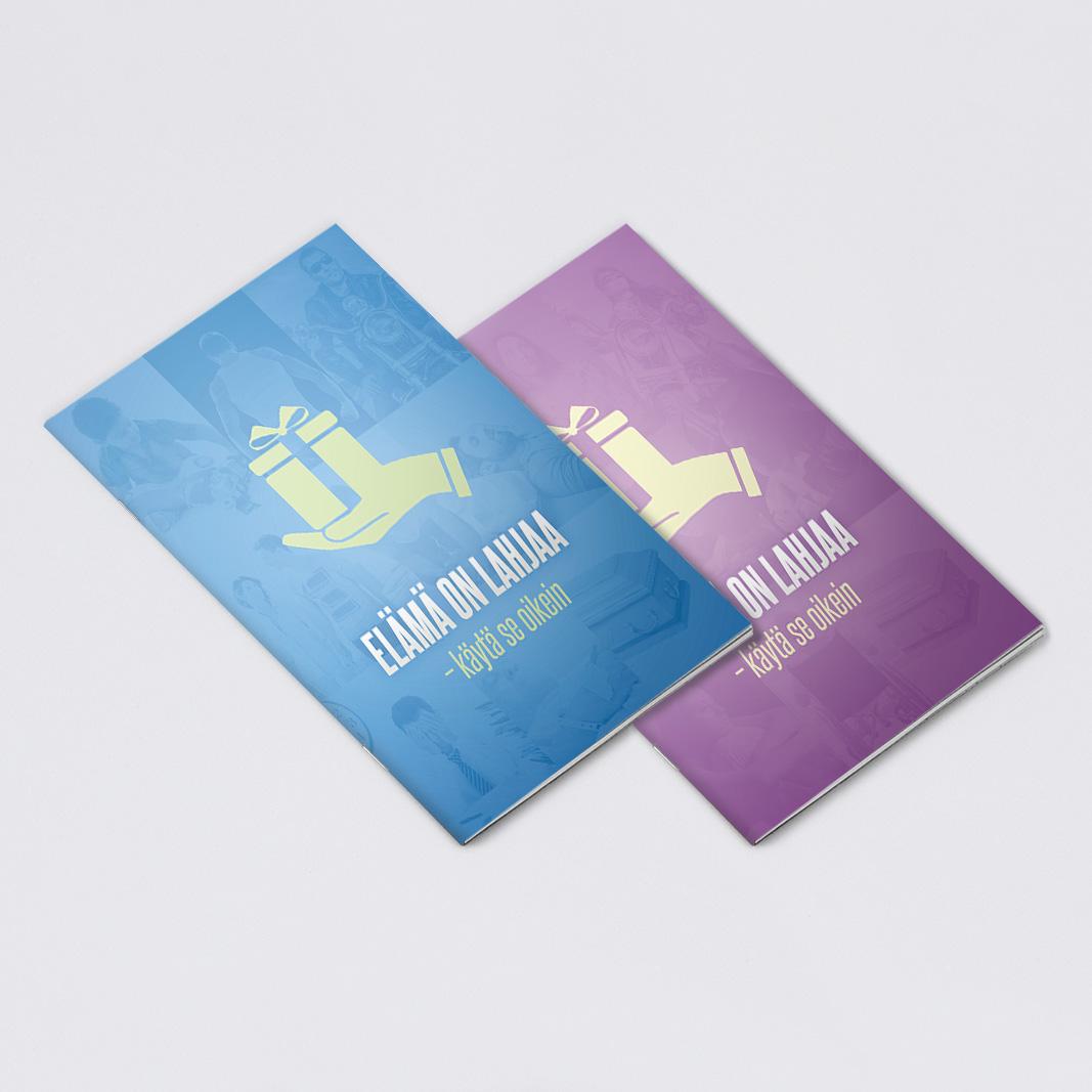 Elämä on lahjaa -vihkosen graafinen suunnittelu sekä taitto. 12 sivua. http://www.kkjmk.net/product_details.php?p=3015