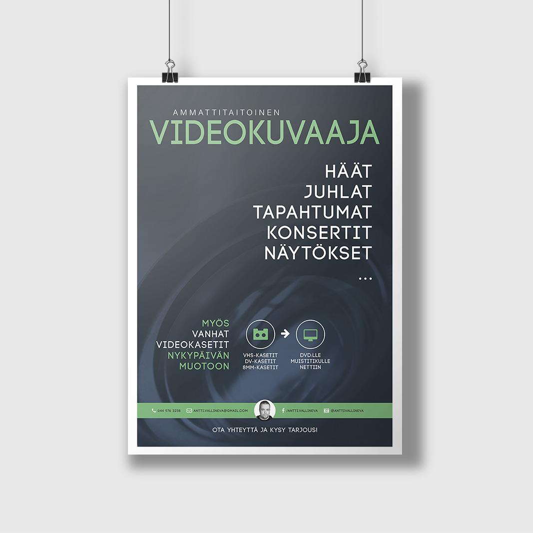 Julistesuunnittelu videokuvaaja Antti Vallinevalle 2016.