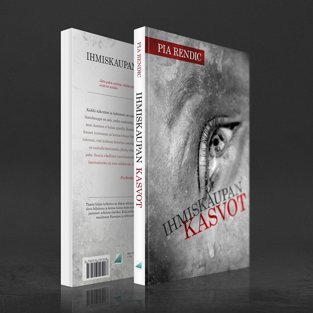 """Kansisuunnittelu Pia Rendicin kirjaan """"Ihmiskaupan kasvot"""" (Uusi Tie 2015). Kirjassa lisäksi liepeet, joissa kirjailijan esittely. Ihmiskaupan Kasvot -kirjan tarkoitus on rikkoa seksiperäisen ihmiskaupan ympärillä oleva hiljaisuus ja kertoa totuus myös niiden naisten äänellä, jotka ovat joutuneet sellaisen uhreiksi. Kirja johdattaa lukijansa ihmiskaupan maailmaan Euroopan ja erityisesti Kyproksen alueella. """"Paha tarvitsee voittaakseen vain sen, että hyvät ihmiset eivät tee mitään."""" –Edmund Burke www.ihmiskaupankasvot.com www.nettikirjakauppa.com/ihmiskaupan-kasvot.html"""