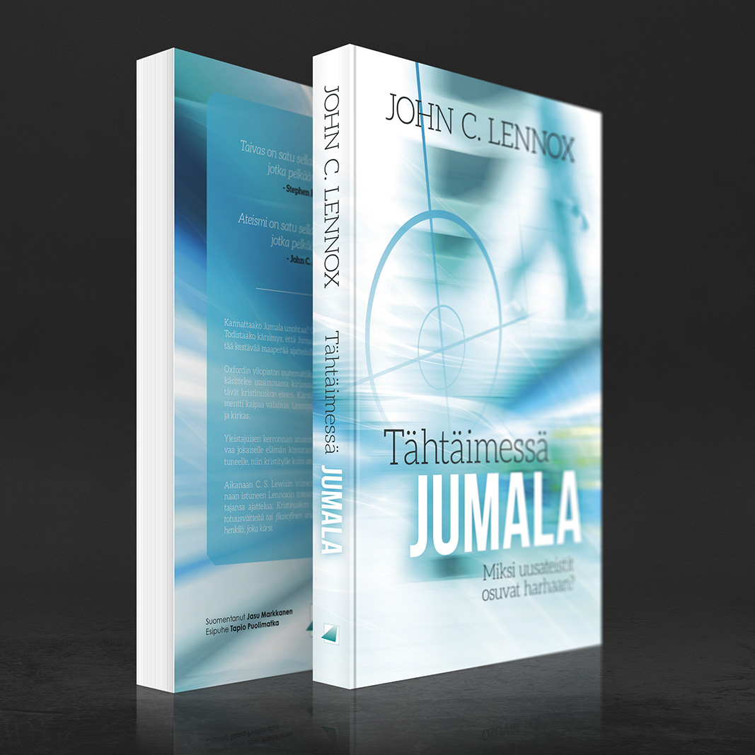 John C. Lennox – Tähtäimessa Jumala -kirjan kansien suunnittelu. (Uusi Tie 2014) www.nettikirjakauppa.com/tahtaimessa-jumala.html
