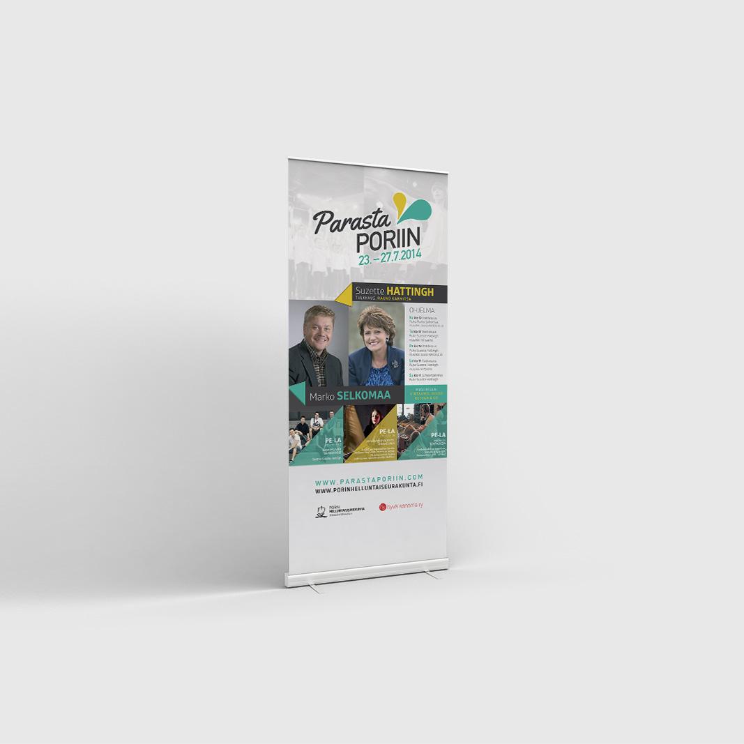 Parasta Poriin 2014 -kampanjan rollup-suunnittelu.