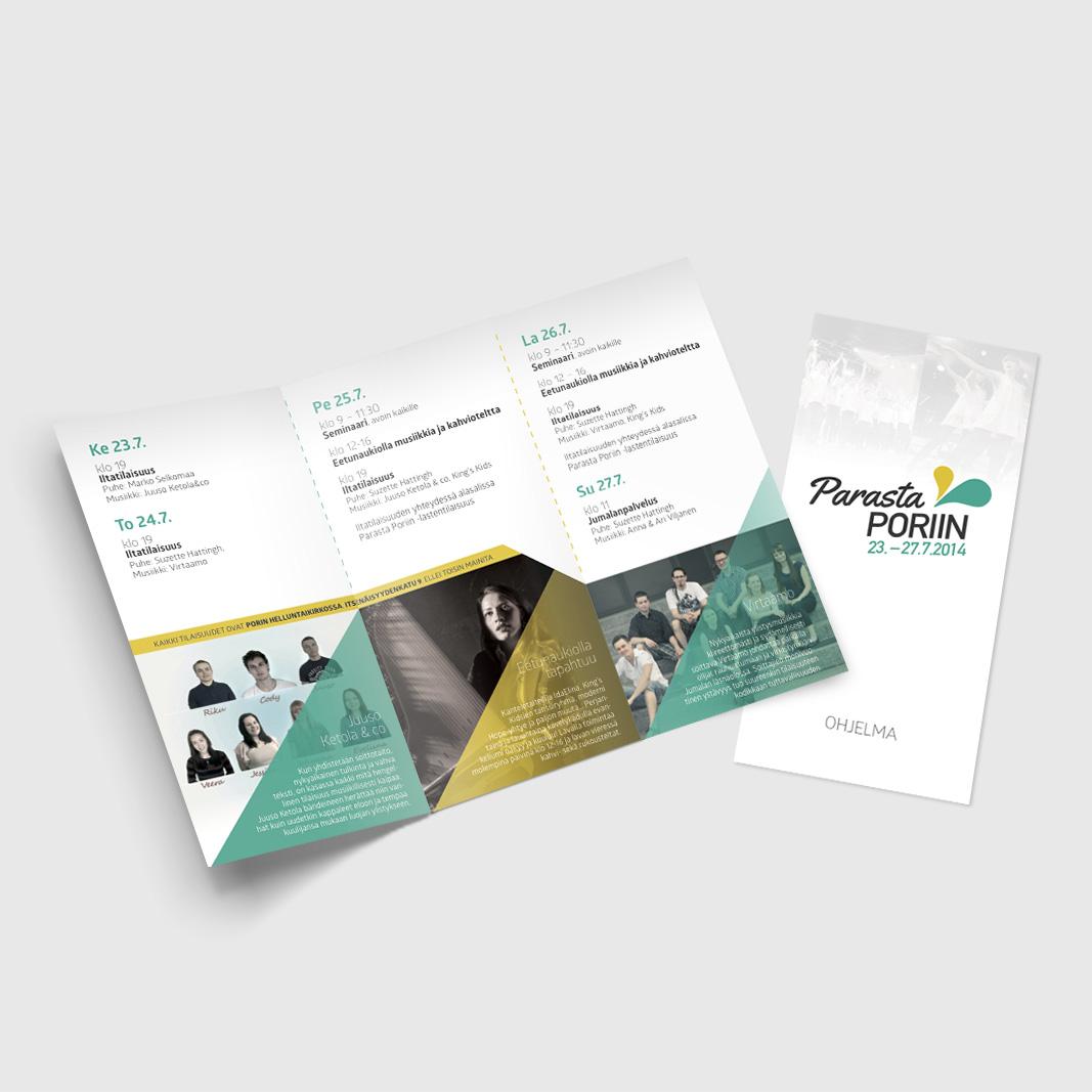 Parasta Poriin 2014 -kampanjan flyeri-suunnittelu.