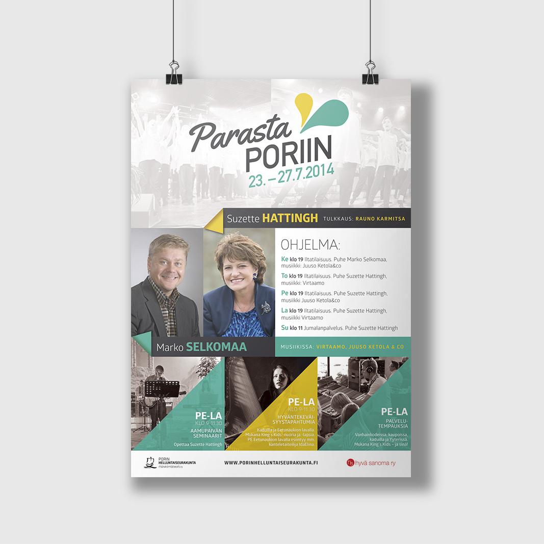 Parasta Poriin 2014 -kampanjan julistesuunnittelu.