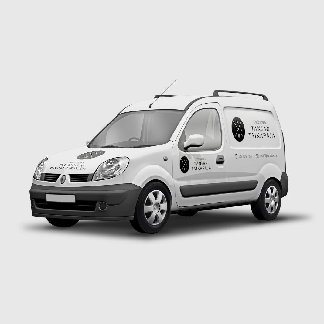 Esimerkkimallinnus logon soveltamisesta autoteippauksissa.